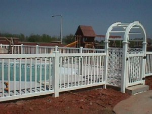 Pool Fence with Arbor