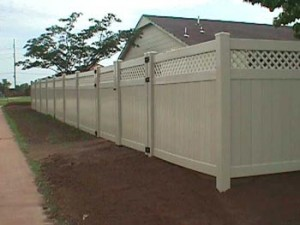 Almond Privacy w/Lattice and 8' Double Gate