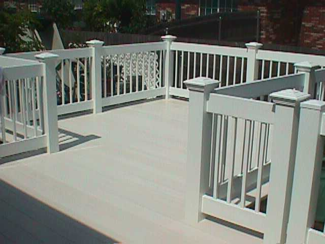 Porch railing with deck midland vinyl products for Vinyl decking materials