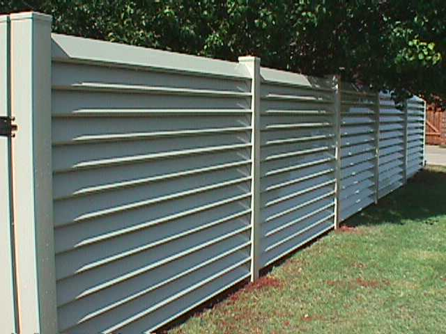 Louvered Semi Private Tan Fence Midland Vinyl Products