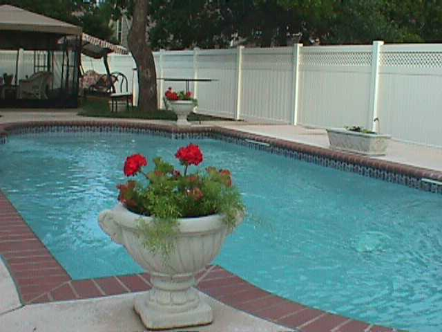 Pool Privacy Fence pool privacy fence with lattice | midland vinyl products